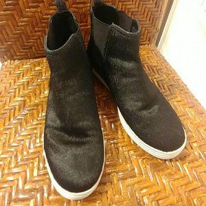 Aerosoles, black faux calf fur, high top sneakers